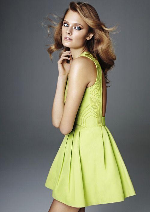 neon yellow lime dress
