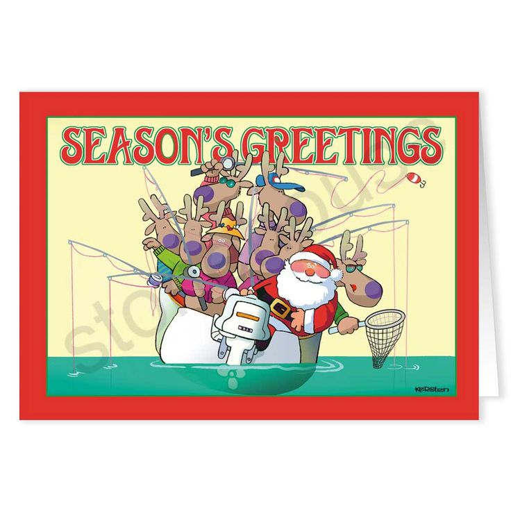 Santa and his reindeer team are taking time out of their day to do some fishing!   Season's Greetings from the open water. Santa Fishing Holiday Card