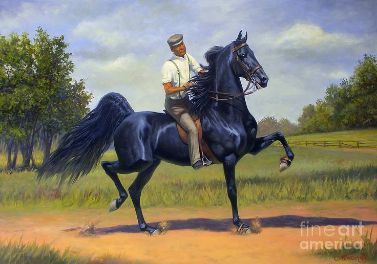 Tom Bass And Rex Mcdonald Painting $5000. Original. Tom was a former slave & became 1 of the most famous trainers of American Saddlebreds of all time.