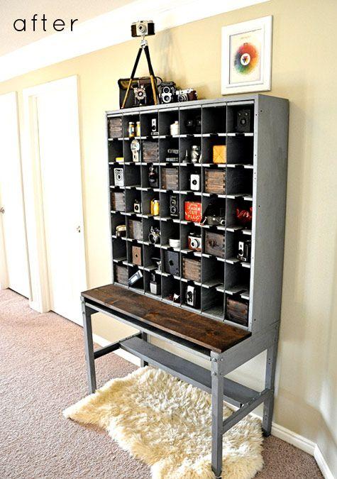 incredible vintage camera storage: Vintage Storage, Vintage Cameras, Refinishing Furniture, Old Cards, Cameras Art, Storage United, Mail Boxes, Diy Projects, Old Cameras