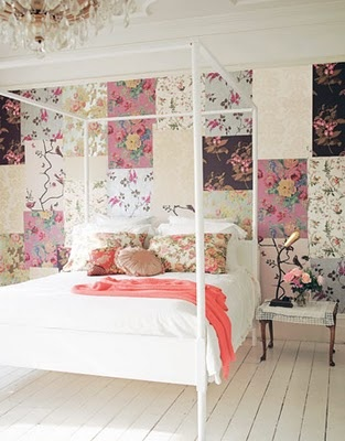 Floral wall patchwork for a white room with white furniture