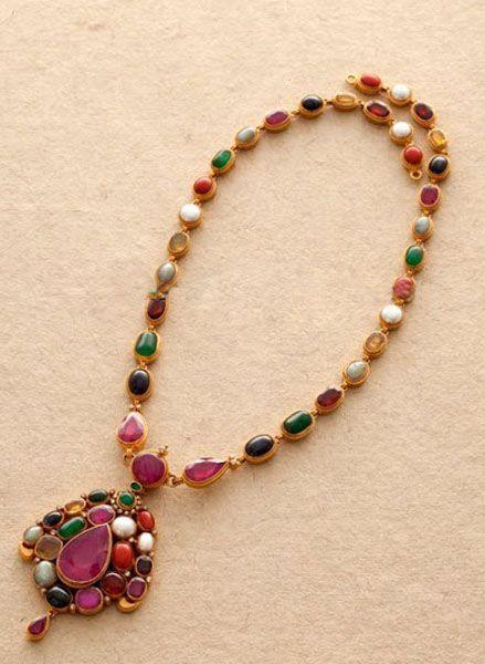 simple navaratna necklace - Google Search