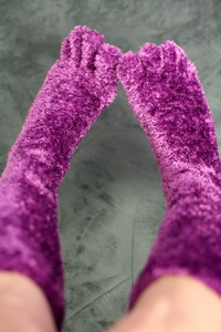 Fuzzy Toe Socks - Two things I love put together: fuzzy socks and toe socks! These are really handy for extra warmth during the winter time, whether or not I pair them with my favourite slippers. They are great for lounging and I wear them all the time!