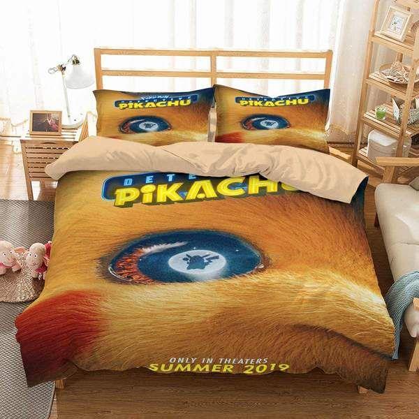 3d Customize Pokemon Detective Pikachu Bedding Set Duvet Cover Set