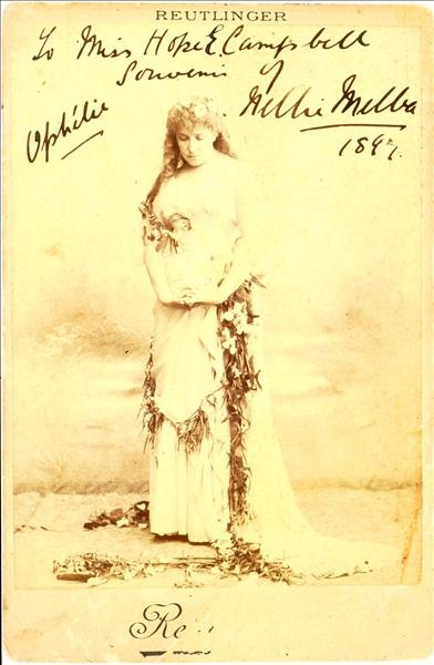 Culture Victoria - Signed photograph of Nellie Melba as Ophelia in Hamlet, 1897