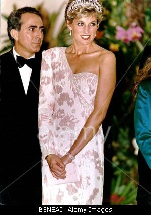 April, 1991: Prince Charles & Princess Diana attend a banquet at the Itamaraty Palace during a State visit given by President Fernando Collor & First Lady of Brazil, Rosane Collor.