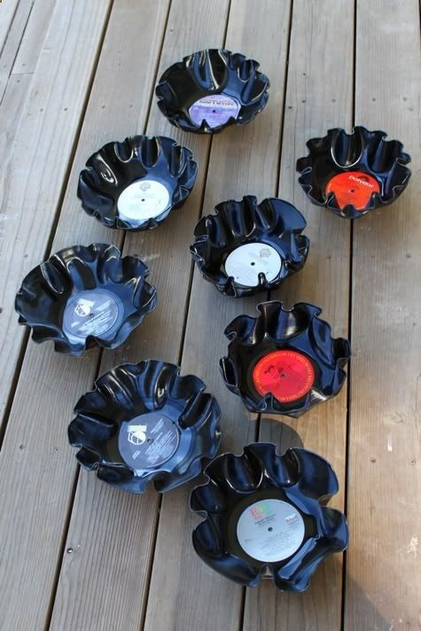 DIY Record Bowls. The DIY bowl from a record is a definite oldie-but-goodie craft project.These make great inexpensive party decor, take like 4 minutes to make, and cost 10 cents each. Learn how to make a record bowl after the jump...How to Make Record Bowls1. Gather some records you never want to listen to again. Place one record on top of a ceramic (oven-safe) bowl.