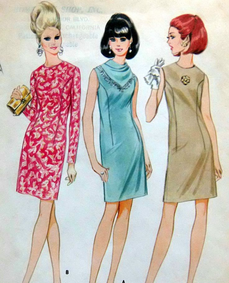 Vintage 60's 8994 Misses Straight Darted Dress Sewing Pattern sz 14 1967 UNCUT * #McCalls