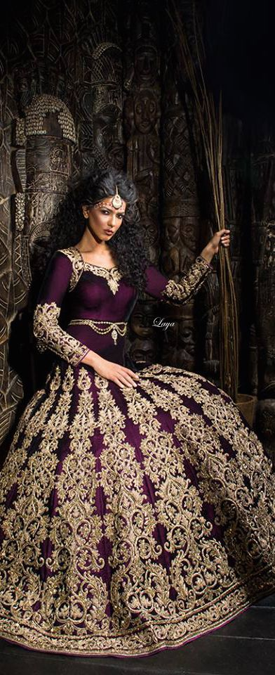 *✿.Beautiful Purple and Gold Indian/Medieval Fusion Gown.✿*