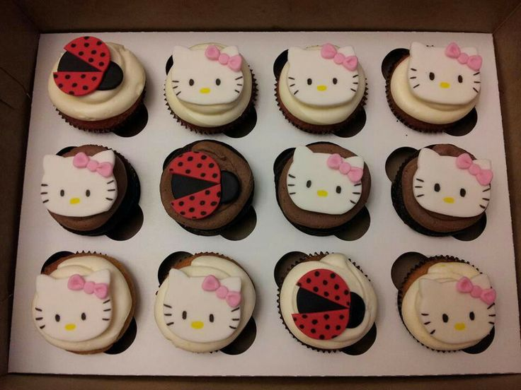 Hello Kitty and lady bug cupcakes