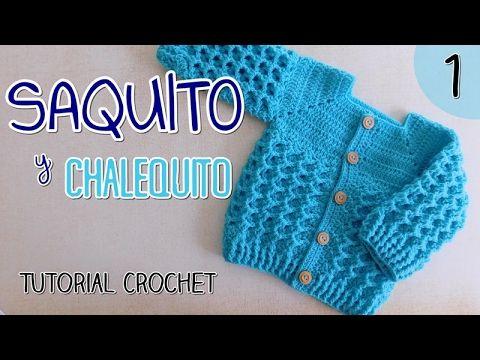 Ajuar: Saquito a crochet para bebes (2/2) - YouTube