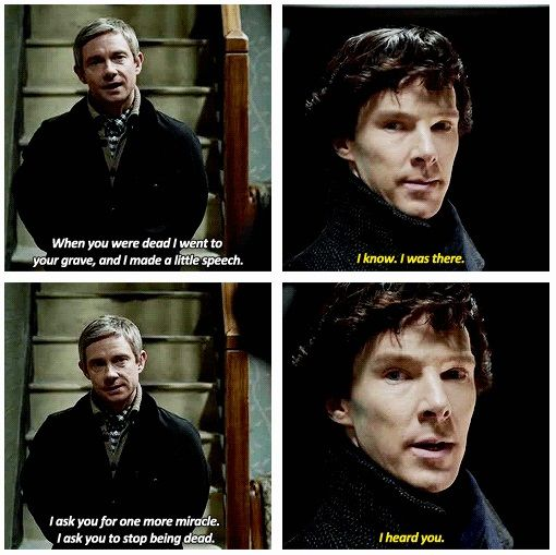 "#SherlockLives #SherlockSpoilers -- Series 03 Episode 01 ""The Empty Hearse"" (gif set)"