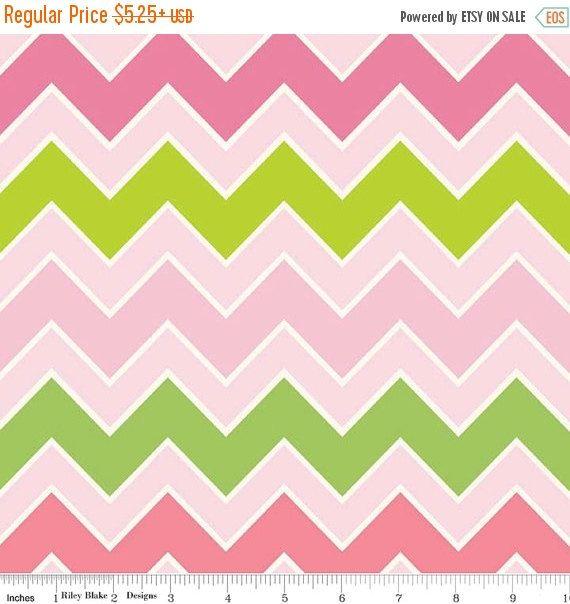 SALE Pink & Green Medium Shaded Chevron from by StitchStashDiva