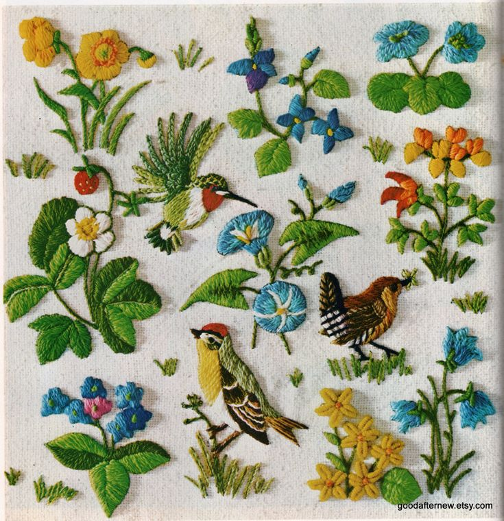 Two Crewel Embroidery Patterns Vintage Needlepoint by