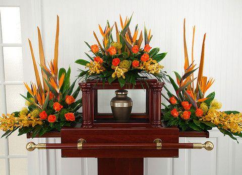Tropical Paradise Urn Set Funeral Flower Arrangements