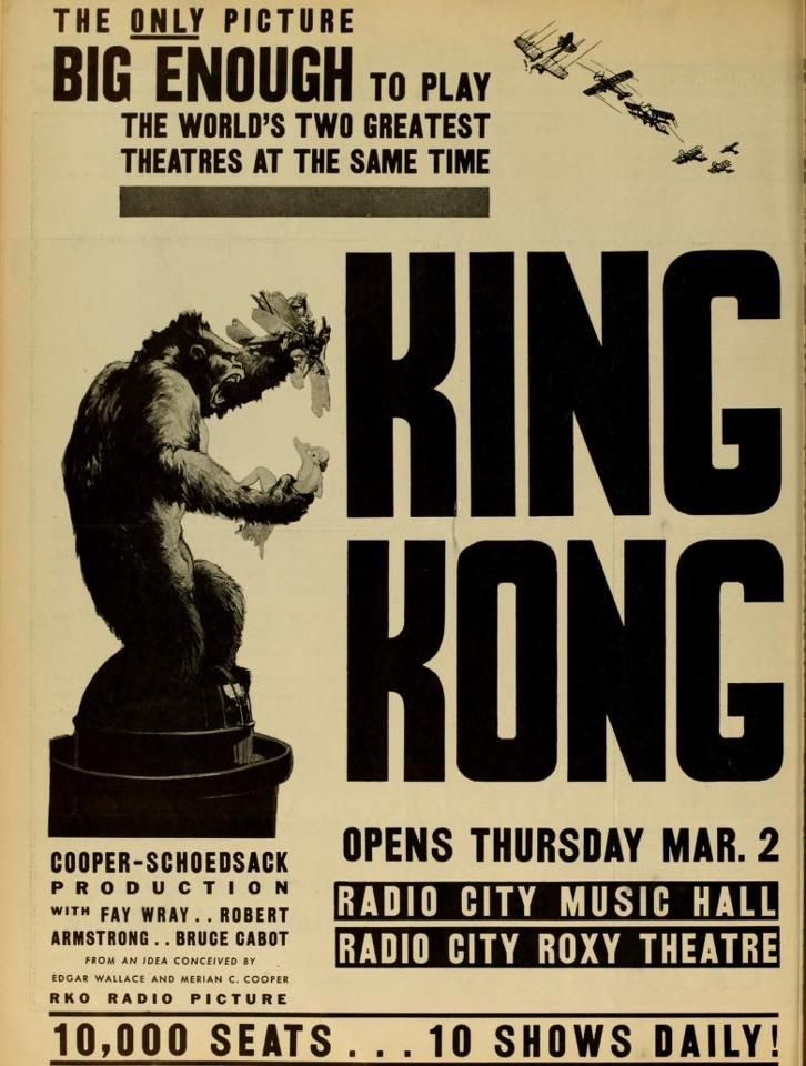 The Original Poster of the release of KING KONG in March of 1933