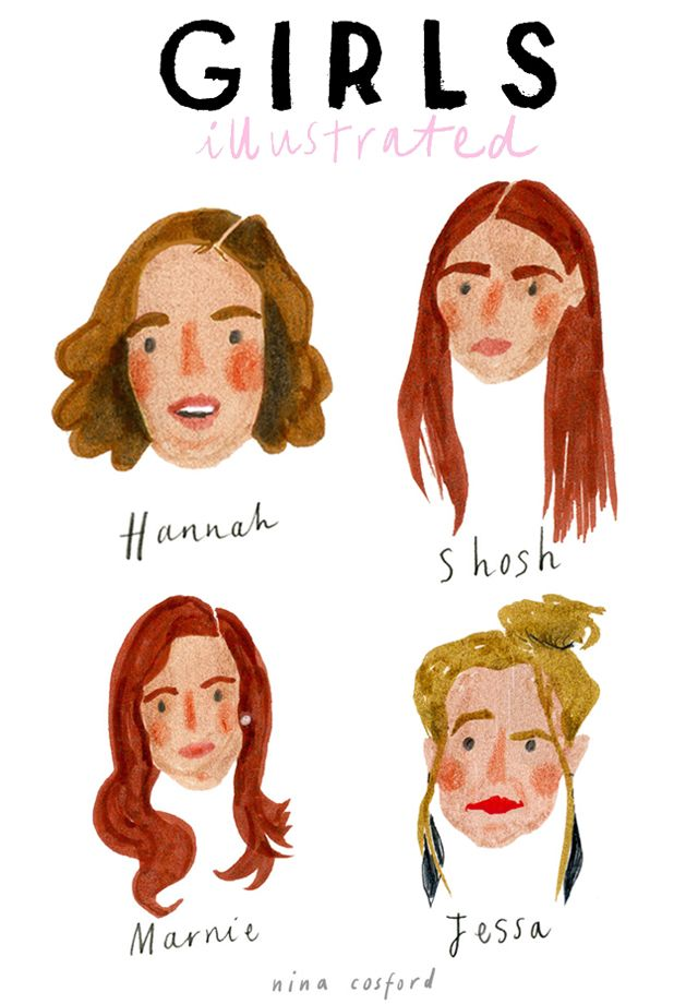 Lovely ilustra es da s rir Girls HBO por nina cosford