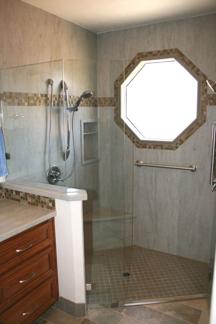 Corian Sagebrush Shower Surround With Tile Insert Stripe