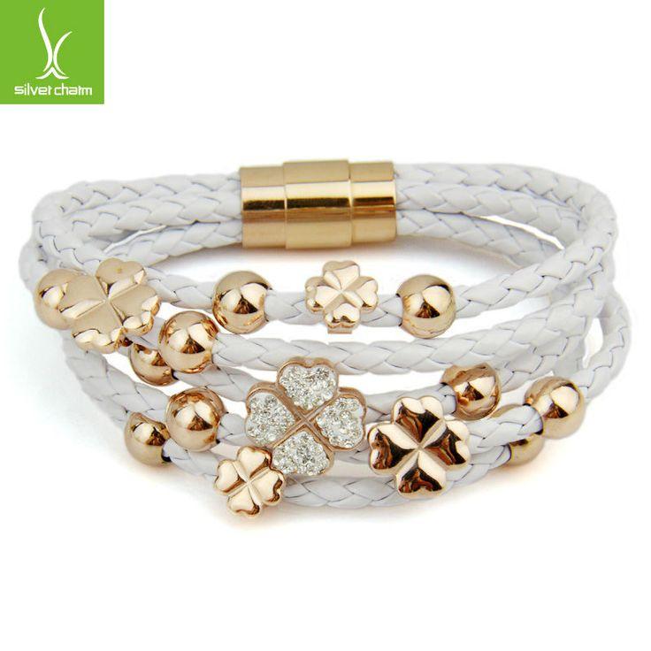 alibaba expressar quente vender couro wrap 18k rosa pulseira de ouro chapeado para mulheres trevo de quatro folhas de cristal charme j&oacut...