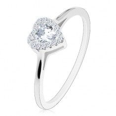 Eljegyzési gyűrű - 925 ezüst, keskeny szárak, átlátszó cirkónia csillogó…