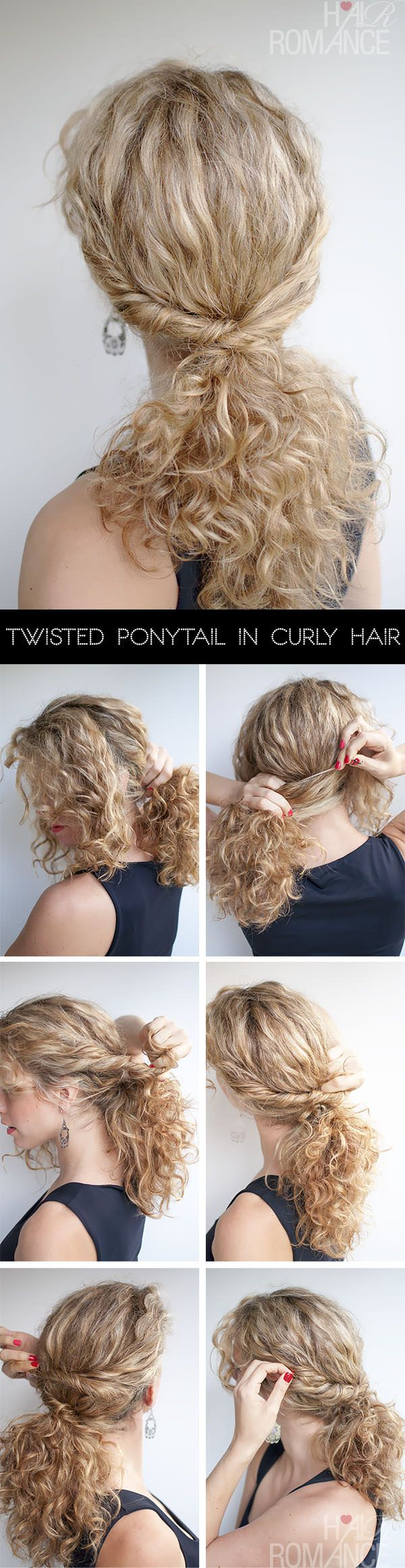Pretty twisted ponytail in curly hair via the lovely @Hair Romance