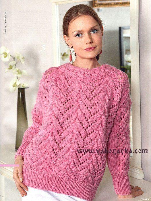 Связать свитер ажурным узором спицами