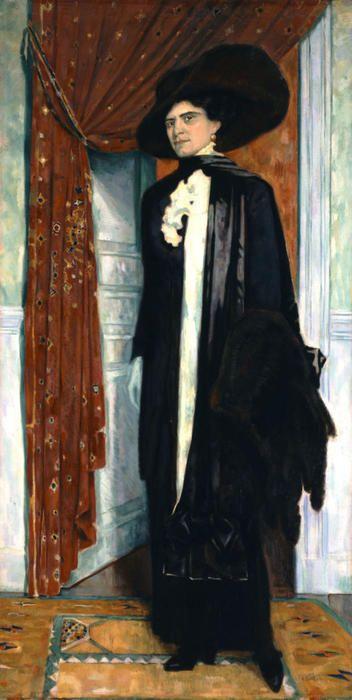 'Portrait of Julia Parthenis', Oil On Canvas by Konstantinos Parthenis (1878-1967, Egypt)