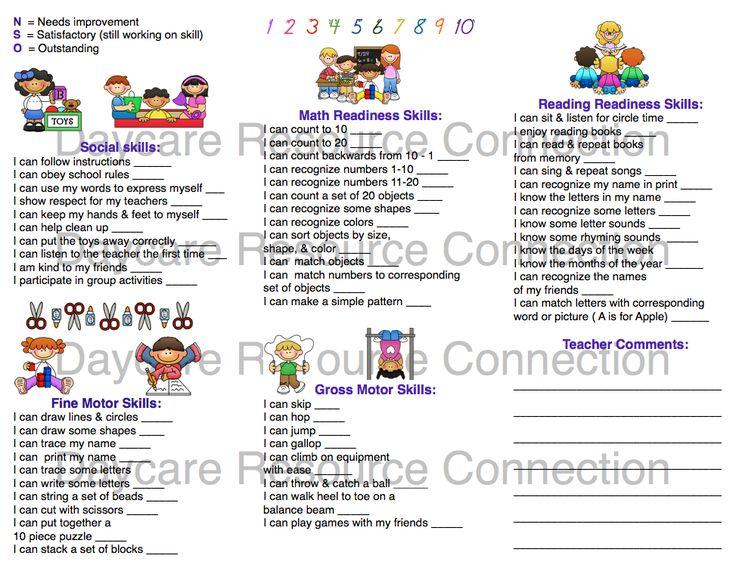 Image result for preschool progress report sample