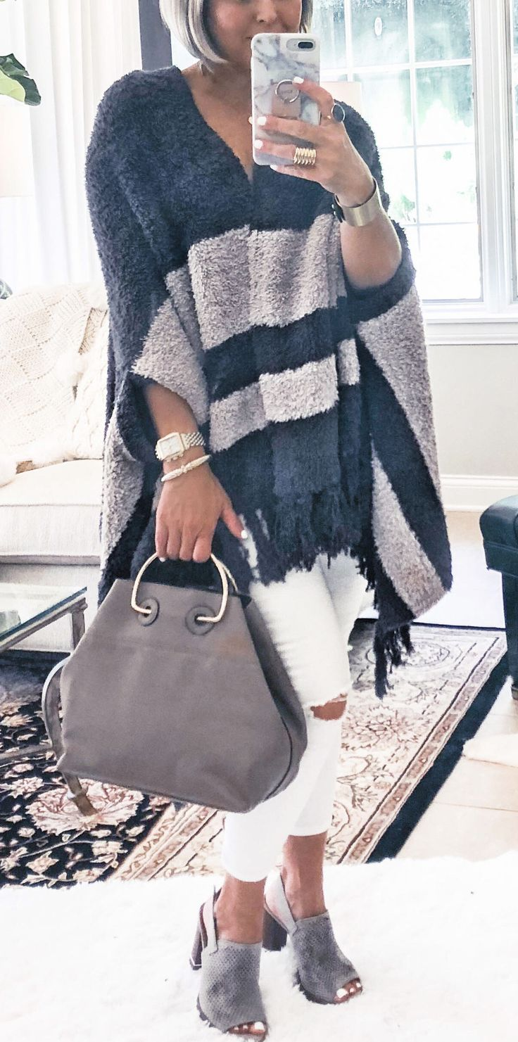 gray and blue knitted poncho #spring #outfits