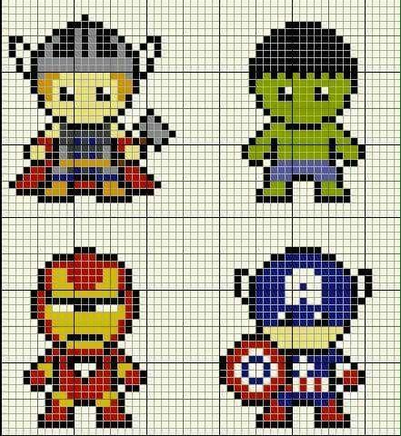 traccia per fare 4 Avengers con le perline da stirare.se vi piace mettete un