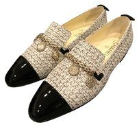 Chanel Cc Tweed Loafer Coin Ecru Flats