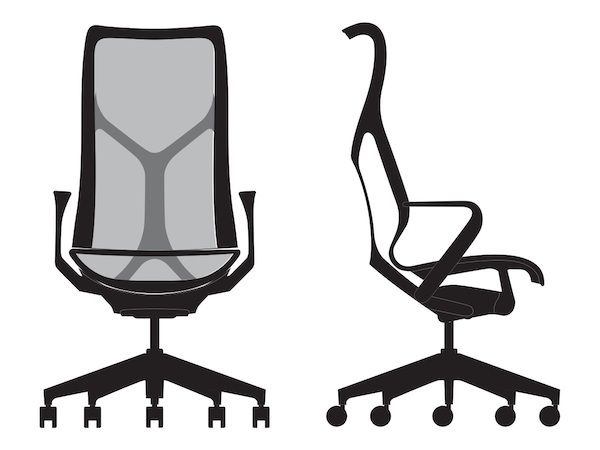 Front And Side View Line Art Of A High Back Cosm Chair Office Chair Makeover Office Chairs For Sale Chair