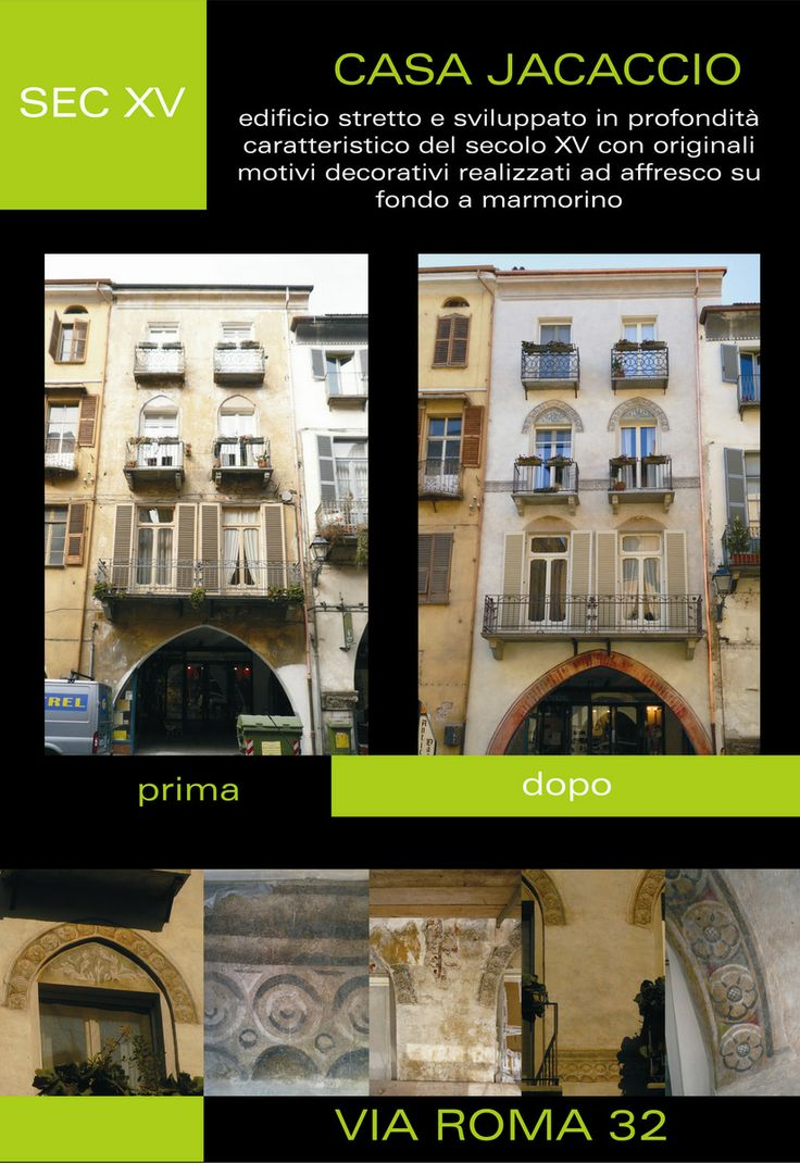 CASA JACACCIO, sec. XV Edificio stretto e sviluppato in profondità caratteristico del secolo XV con originali motivi decorativi realizzati ad affresco su fondo a marmorino.