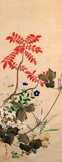 酒井抱一 Sakai HOITSU 1761–1828 Autumn and Winter Flowers Edo Period (1615-1867 A.D.) Hanging scroll(s), ink and color on silk 114.0 x 44.3 cm Rinpa School 琳派 2009.15