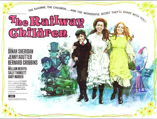The Railway Children (1970), British film adaptation of E. Nesbit's classic novel, directed by Lionel Jeffries and starring Dinah Sheridan, Jenny Agutter, Sally Thomsett and Bernard Cribbins.