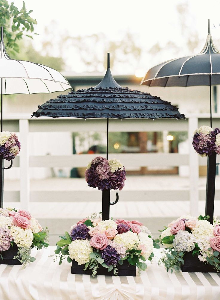 Black & White Parasol French Décor | Photography: Caroline Tran. Read More: http://www.insideweddings.com/weddings/magical-garden-ceremony-tented-reception-with-chic-french-theme/733/