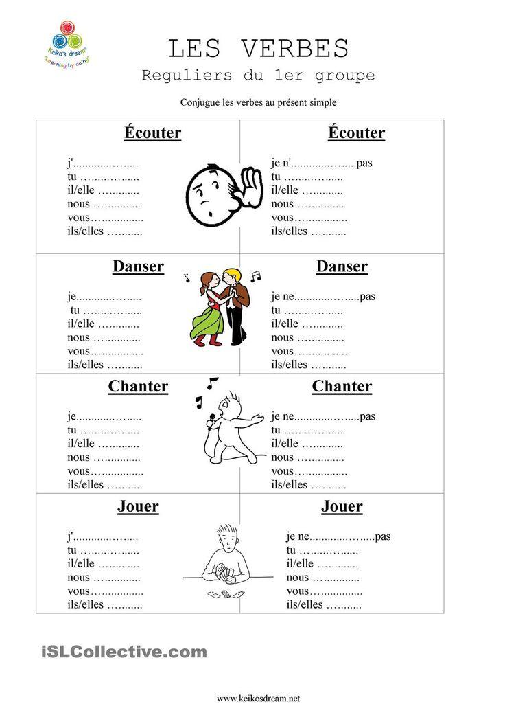 verbes reguliers du 1er premier groupe