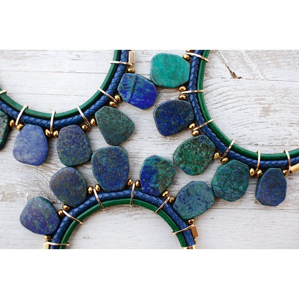 Bold Statement navy and green chrysocolla Necklace by Pardes (420 ILS) ❤ liked on Polyvore featuring jewelry, necklaces, green jewellery, navy necklace, navy jewelry, statement necklace and navy blue necklace