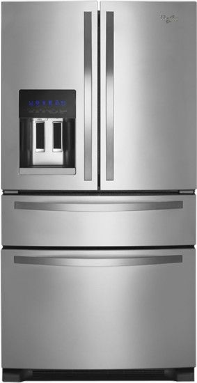 Whirlpool - 25.0 Cu. Ft. French Door Refrigerator with Thru-the-Door Ice and Water - Monochromatic Stainless Steel - Front Zoom