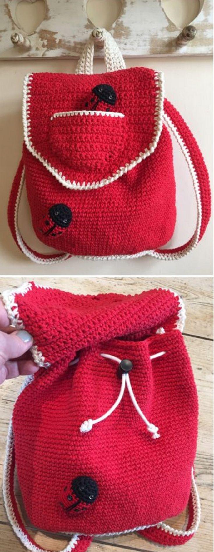 Crochet Pattern: Little Backpack!•★•Teresa Restegui http://www.pinterest.com/teretegui/•★•