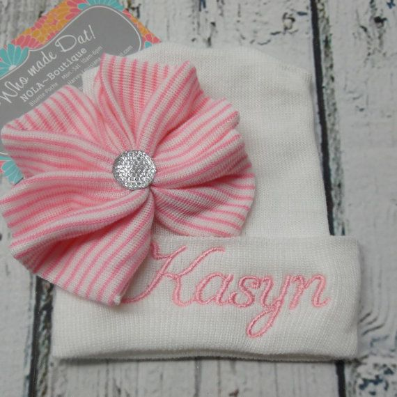 Sweet Hospital Newborn Hat Personalized newborn hat with or without bow and center pearl or crystal embellishment. Please leave your choice of first name only, or last name only info during checkout. I can only add first and middle names if the first or last name is very short, such as Ava or Mia... example; Ava Maria or Mia Ann. The name size is approximately 3 to 3.5 inches long and 1.25 to 1.5 inches wide from top to bottom of the first letter. The sizing depends on the number of…