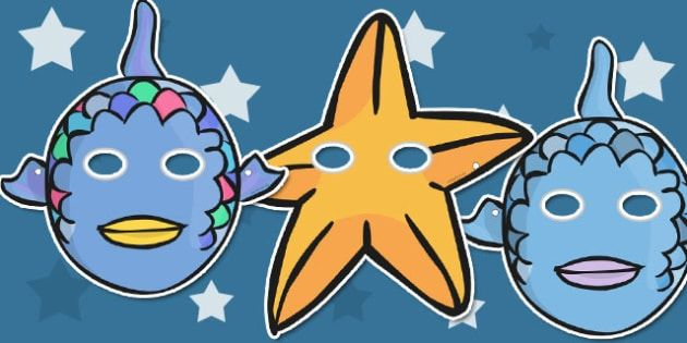 Story Role Play Masks to Support Teaching onThe Rainbow Fish - The Rainbow Fish, Marcus Pfister, resources, Rainbow Fish, PSHE, PSE, octopus, shimmering scales, starfish, friendship, under the sea, sea, story, story book, story book resources, story