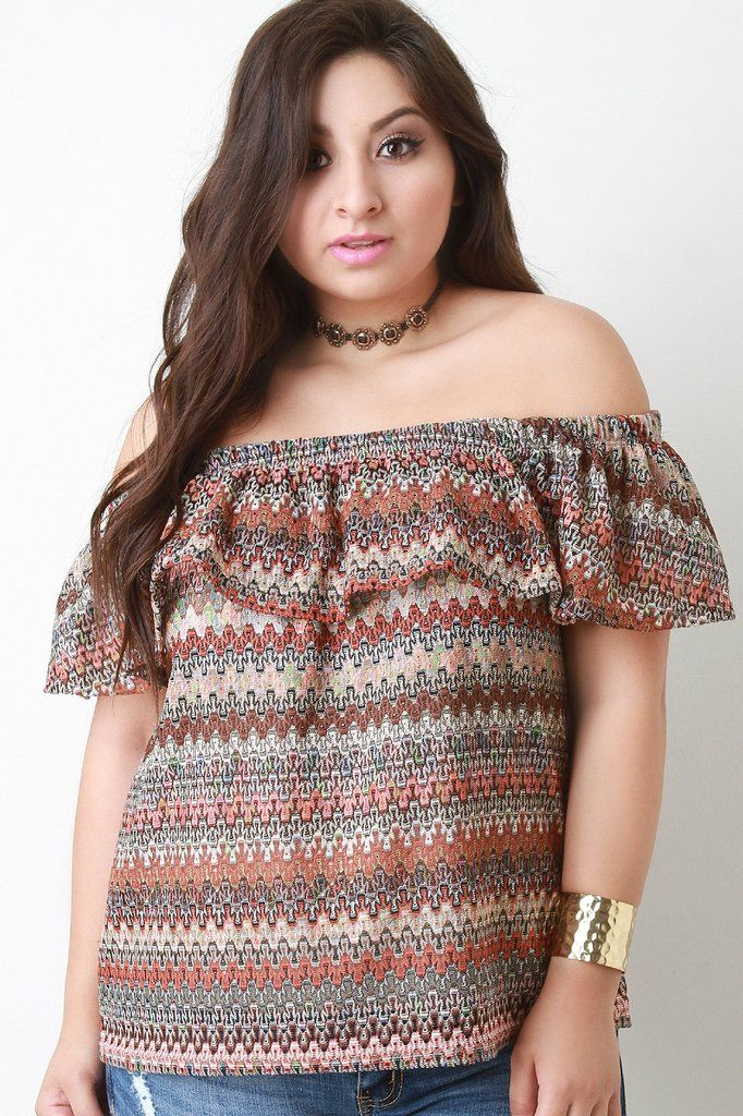 This plus size bardot top features an elasticized off the shoulder neckline, flutter tier, short sleeves, semi-sheer chevron knit design, and complete with underlay. Accessories sold separately. Made in U.S.A. 95% Polyester, 5% Spandex.