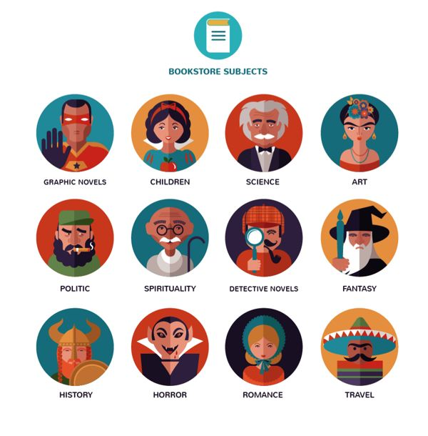 Bookstore subjects - vector icons by Marina Zlochin, via Behance
