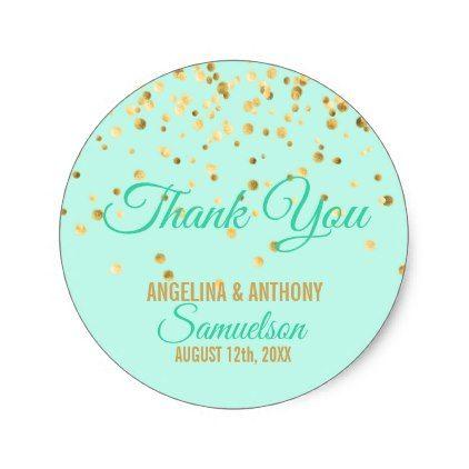 Custom Mint Gold Confetti WEDDING Thank You Classic Round Sticker - personalize gift idea diy or cyo