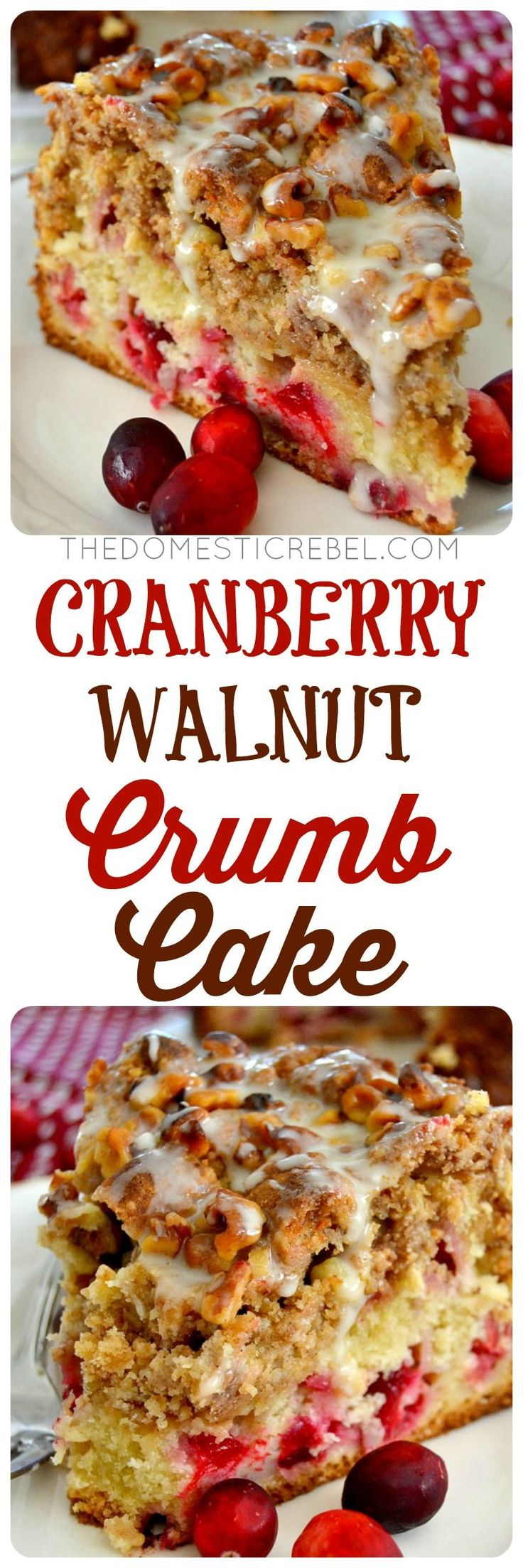 Cranberry Walnut Crumb Cake | The Domestic Rebel | a buttery, moist cake filled with bright and juicy cranberries, then topped with a crunchy, melt-in-your-mouth brown sugar, cinnamon & walnut streusel crumb. So impressive, so easy!