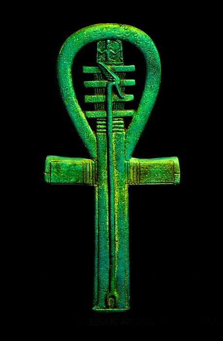 Faience amulet in the shape of an ankh, 25th dynasty to Late Period, about 700-500 BCE.. Egypt