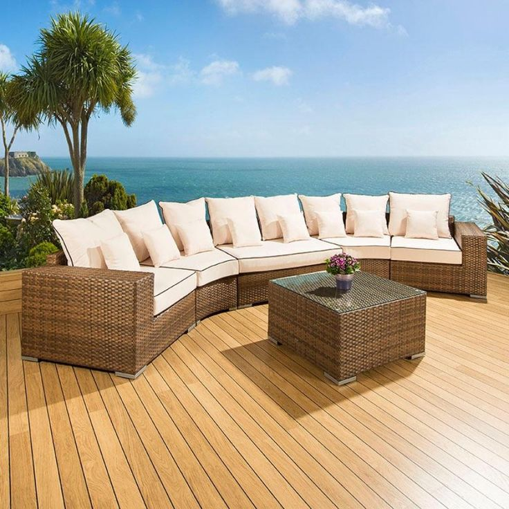 luxury outdoor rattan garden furniture sofa setgroup browncream 29 truly stunning
