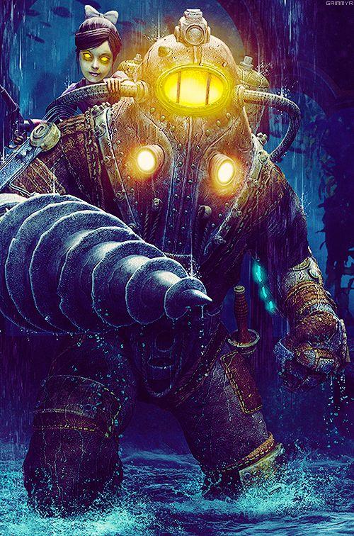 Symbiosis: Girl riding her own robot - Bioshock (artist unknown) *