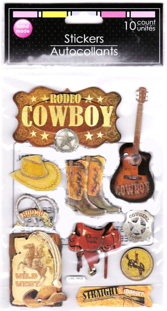 Rodeo Cowboy 10 Fancy 3-D Stickers Saddle Hat Cowgirl Guitar Wild West Hat Boots #GreenbrierInternational #3DDimensional